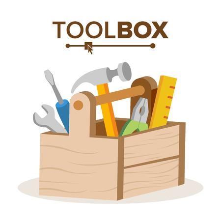 Vector de caja de herramientas clásica de madera. Lleno De Equipos. Ilustración de dibujos animados plana aislada