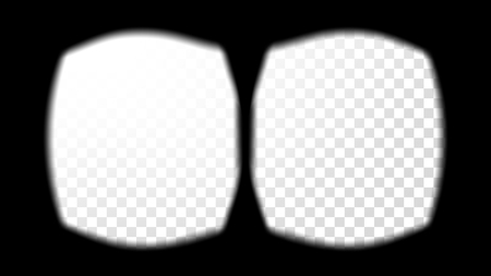 Virtual Reality Glasses Sight View Vector. Screen Frame Template. VR Technology. Stereoscopic Screen Video. Transparent Background Illustration