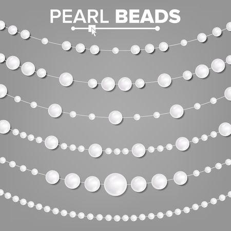 Pearl Garlands Vector. Glamour Pearls Vintage Accessories Necklace. Elegant Luxury Decoration Illustration