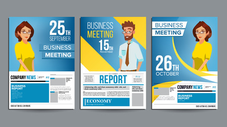 Business Meeting Poster Set Vector. Businessman And Business Woman. Invitation And Date. Conference Template. A4 Size. Cover Annual Report. Flat Cartoon Illustration