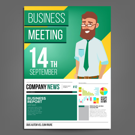 Business Meeting Poster Vector. Businessman. Layout Template. Presentation Concept. Green, Yellow Corporate Banner. A4 Size. Analyzing Sales Statistics. Financial Results Presentation. Illustration