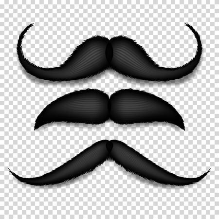 Mustache Isolated Vector. Black Vintage Moustache. Retro Collection Isolated On Transparent Background Illustration