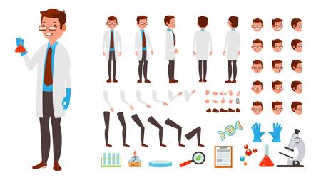 Scienziato Man Vector. Set di creazione di personaggi animati. Vista intera, frontale, laterale, posteriore, accessori, pose, emozioni facciali, acconciatura, gesti. Illustrazione del fumetto piatto isolato