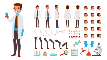 Wetenschapper Man Vector. Set met geanimeerde tekens. Volledige lengte, voorkant, zijkant, achterkant, accessoires, poses, gezichtsemoties, kapsel, gebaren. Geïsoleerde platte cartoon afbeelding