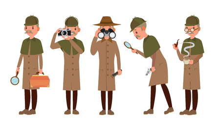 Detective Character Vector. Shamus, Spotter Man. Classic Detective Equipment. Isolated On White Cartoon Illustration