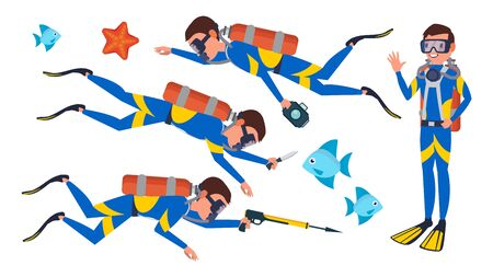 Scuba Diver Vector. Snorkeling Diving. Underwater. Isolated Flat Cartoon Character Illustration