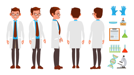 Classic Scientist Vector. Science Experiment. Research And Exploration. Biological Laboratory Worker. Flat Cartoon Illustration Illustration