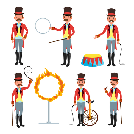 Circus Trainer Vector. Circus Performances Of Trained Animals. Mustache, Red Cloak, Cylinder, Whip. Isolated On White Cartoon Character Illustration