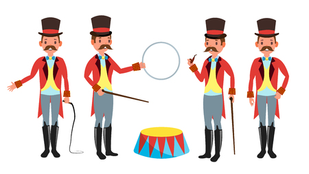 Circus Trainer Vector. Whip In His Hand. Classic Black Hat. Retro Flat Cartoon Illustration Illustration