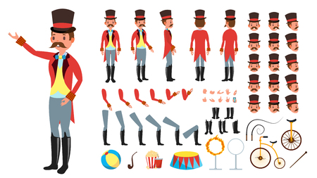 Circus Trainer Vector. Animated Character Creation Set. Full Length, Front, Side, Back View, Accessories, Poses, Face Emotions Hairstyle Gestures Isolated Flat Illustration