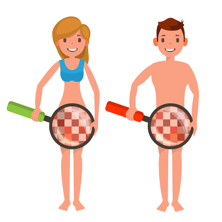 Venereal Disease Check Vector. Man And Woman With Magnifying Glass. Censored Skin. Body Female, Male Impotence Healthcare Venereal Disease Concept. Isolated Flat Cartoon Illustration