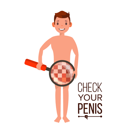 Check Your Penis Vector. Man With Magnifying Glass. Censored Skin. Body Male Impotence Healthcare Venereal Disease  Concept. Isolated Flat Cartoon Illustration Ilustração