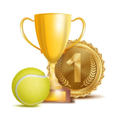 Tennis Award Vector. Sport Banner Background. Yellow Ball, Gold Winner Trophy Cup, Golden 1st Place Medal. 3D Realistic Isolated Illustration
