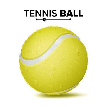 現実的なテニスボールベクトル。古典的なラウンドイエローボール。スポーツゲームのシンボル。図