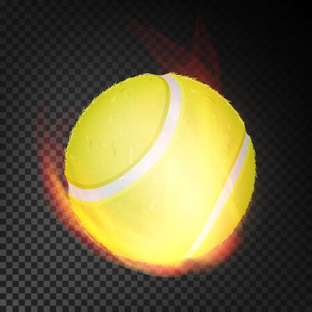 Tennis Ball In Fire Vector Realistic. Burning Tennis Ball. Transparent Background Illustration