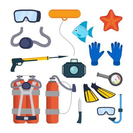 Diving Equipment Set Vector. Scuba Diver Accessories. Mask, Tube, Buoy, Starfish, Fish, Underwater Gun, Camera, Oxygen Tank, Knife, Flippers, Pressure Depth Sensor. Isolated Flat Cartoon Illustration Illustration