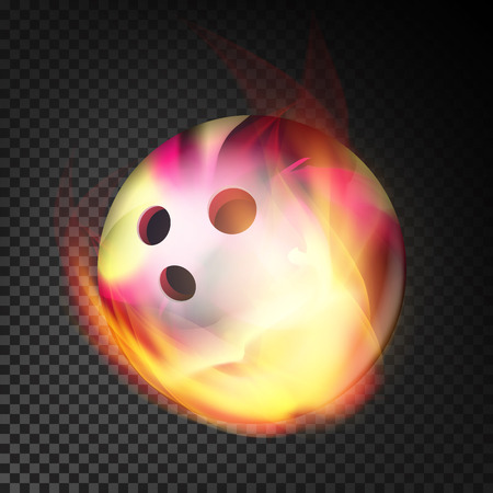 Bowling Ball In Fire Vector Realistic. Burning Bowling Ball. Transparent Background Illustration