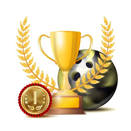 Bowing Achievement Award Vector. Sport Banner Background. Ball, Winner Cup, Golden 1st Place Medal. Realistic Isolated Illustration