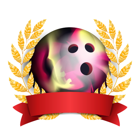 Bowing Award Vector. Sport Banner Background. Ball, Red Ribbon, Laurel Wreath. 3D Realistic Isolated Illustration