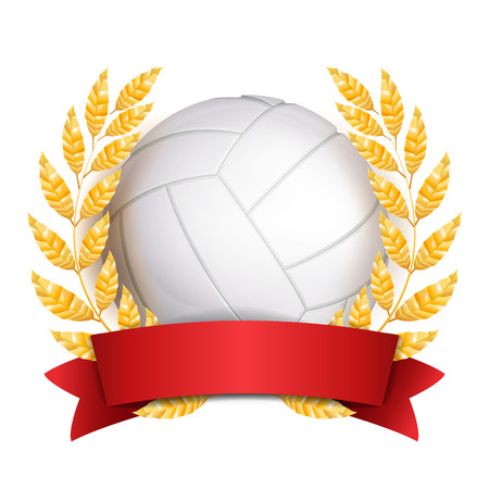 Volleyball Award Vector. Sport Banner Background. White Ball, Red Ribbon, Laurel Wreath. 3D Realistic Isolated