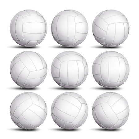 Realistic Volleyball Ball Set Vector. Classic Round White Ball. Different Views. Sport Game Symbol. Isolated Illustration