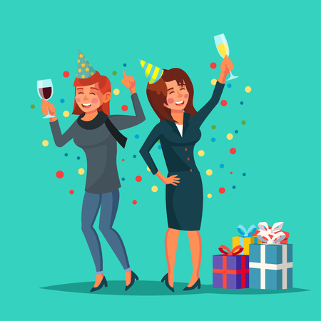 Drunk Women Vector. Alcohol Concept. Friends At Corporate Party At Restaurant. Drink Alcoholic Drinks. Isolated Flat Cartoon Character Illustration Vectores