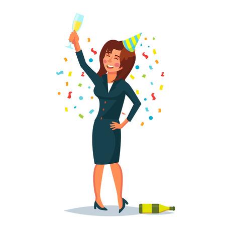 酔ってオフィス女性ベクトル。企業のパーティー。リラックスしたコンセプトは面白い。ビジネス パーティー。漫画キャラ イラスト