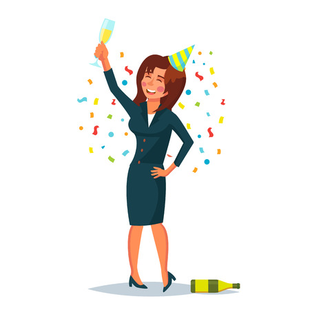 Drunk Office Woman Vector. Corporate Party. Funny Relaxing Concept. Business Party. Cartoon Character Illustration