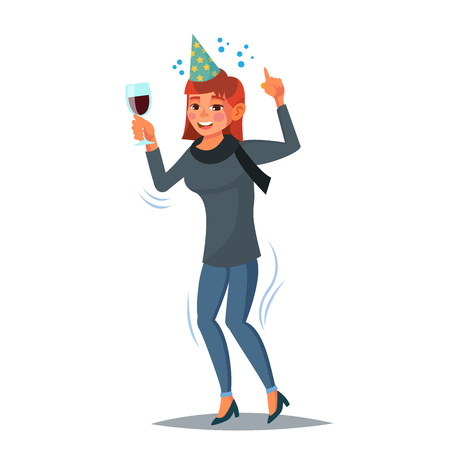 Drunk Office Female Worker Vector. Have Fun. Cheers Party Concept. Celebrating, Gesturing. Isolated On White Cartoon Character Illustration