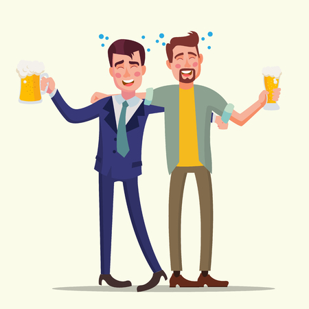 Drunk Office Man Vector. Funny Friends. Relaxing Concept. Business Party. Cartoon Illustration Illustration
