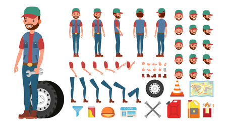 Truck Driver Vector. Animated Trucker Character Creation Set. Full Length, Front, Side, Back View, Accessories, Poses, Face Emotions, Gestures. Isolated Flat Cartoon Illustration