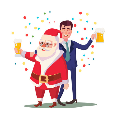 Drunk Man And Santa Claus Vector. Corporate Christmas Party At Restaurant Or Office. Relaxing Celebrating Concept. Isolated Flat Cartoon Character Illustration