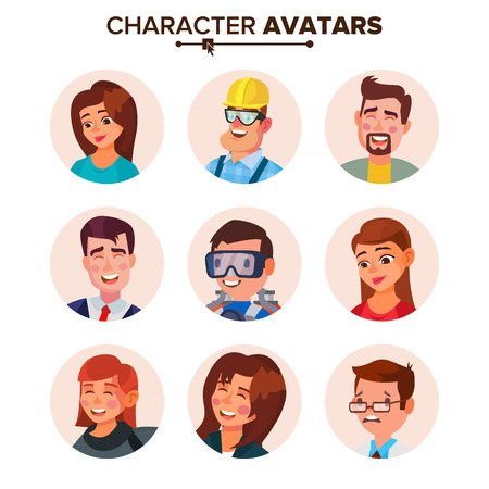 People Avatars Collection Vector. Default Characters Avatar. Cartoon Web Isolated Illustration