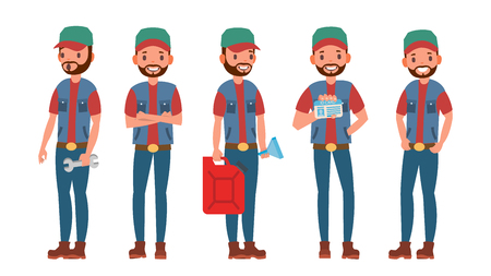 Truck Driver Character Vector. Man. Classic Driver. Isolated On White Cartoon Illustration Stock Photo