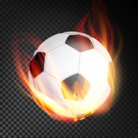 Football Ball In Fire Vector Realistic. Burning Football Soccer Ball. Transparent Background Illustration