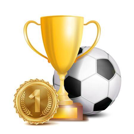 Football Award Vector. Sport Banner Background. Ball, Gold Winner Trophy Cup, Golden 1st Place Medal. Soccer Ball. 3D Realistic
