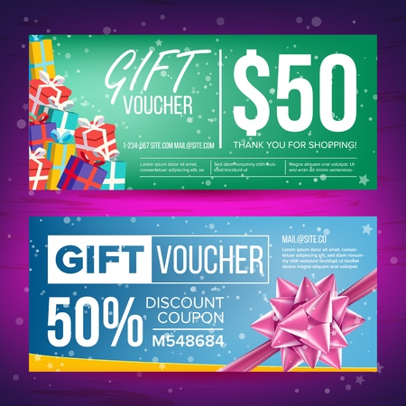 Voucher Vector. Horizontal Banner. Creative Holiday Cards Or Banners. End Of The Year Advertisement. Cute Gift Illustration