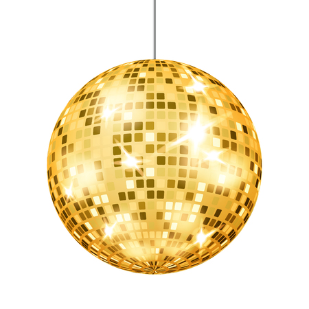 Vettore della sfera della discoteca dell'oro. Light Club Retro Party Classic Light Element. Mirror Ball. Illustrazione isolata