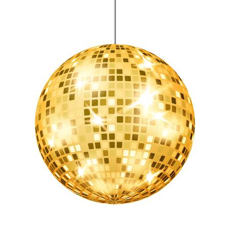 Wektor złota kula dyskotekowa. Dance Club Retro Party Klasyczny element światła. Lustrzana piłka. Ilustracja na białym tle