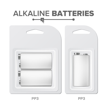 PPS Batteries Packed Vector. Alkaline Battery In Blister. Realistic Glossy Battery Accumulator. Mock Up Good For Branding Design. Closeup Isolated Illustration Vectores