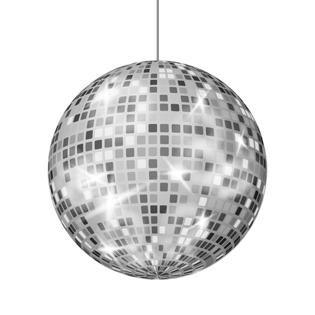 Silver Disco Ball Vector. Dance Night Club Party Light Element. Silver Mirror Ball. Isolated On White Illustration
