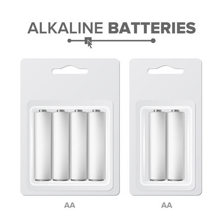 AA Batteries Packed Vector. Alkaline Battery In Blister. Realistic Glossy Battery Accumulator. Mock Up Good For Branding Design. Illustration 일러스트