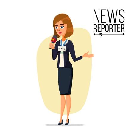 Female journalist vector. Professional reporter on white background. Flat cartoon character illustration. Illustration
