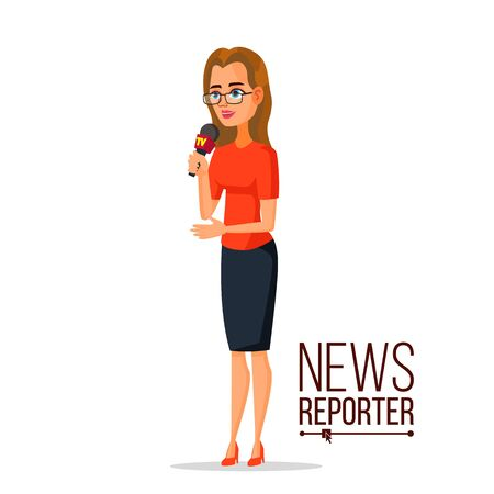 TV correspondent vector. Journalist woman. TV reporter presenting news. Outside broadcasting, C=cartoon character illustration.
