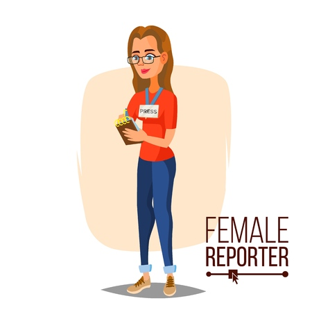 Female journalist vector. Professional reporter on white background. Flat cartoon character illustration.  イラスト・ベクター素材