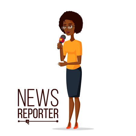 Television reporter vector. Reporter girl. TV transmission with a reporter. Flat cartoon illustration.