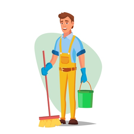 Office Cleaning Service Vector. Washing Machine, Broom. Isolated On White Cartoon Character Illustration Illustration