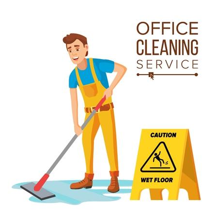Vecteur de nettoyeur de bureau professionnel. Concierge avec équipement de nettoyage. Illustration de dessin animé plat