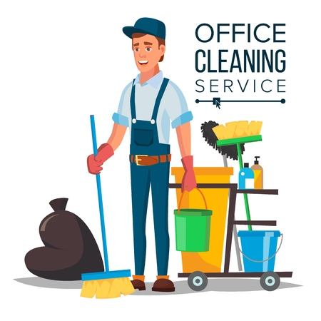 Office cleaning service vector. Washing machine, broom. Isolated on white, cartoon character illustration. Иллюстрация