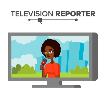 TV correspondent vector. Journalist woman. TV reporter presenting news. Outside broadcasting, cartoon character illustration.